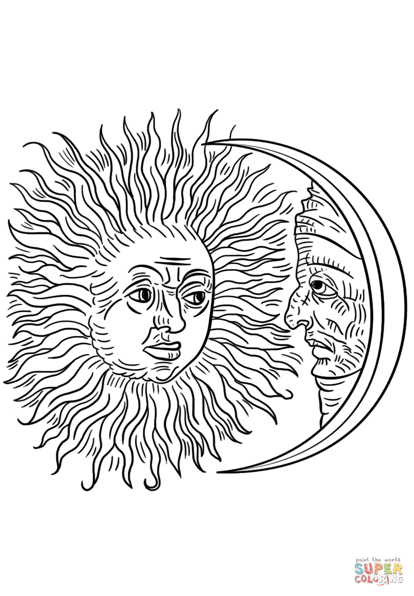 824x1186 Vintage Sun And Moon Coloring Page Free Printable Coloring Pages