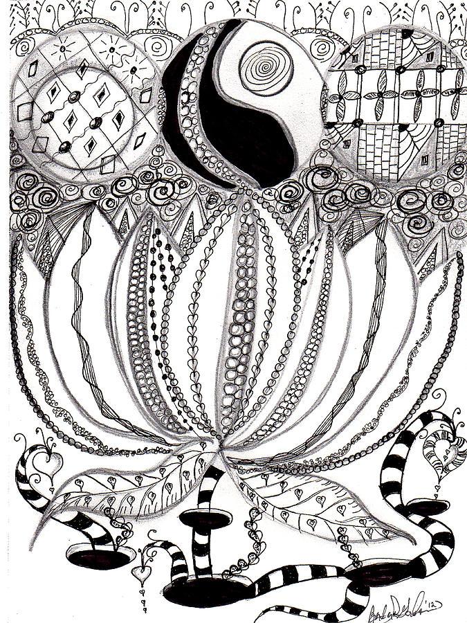 675x900 Lotus Flower Drawing By Barbara Giordano