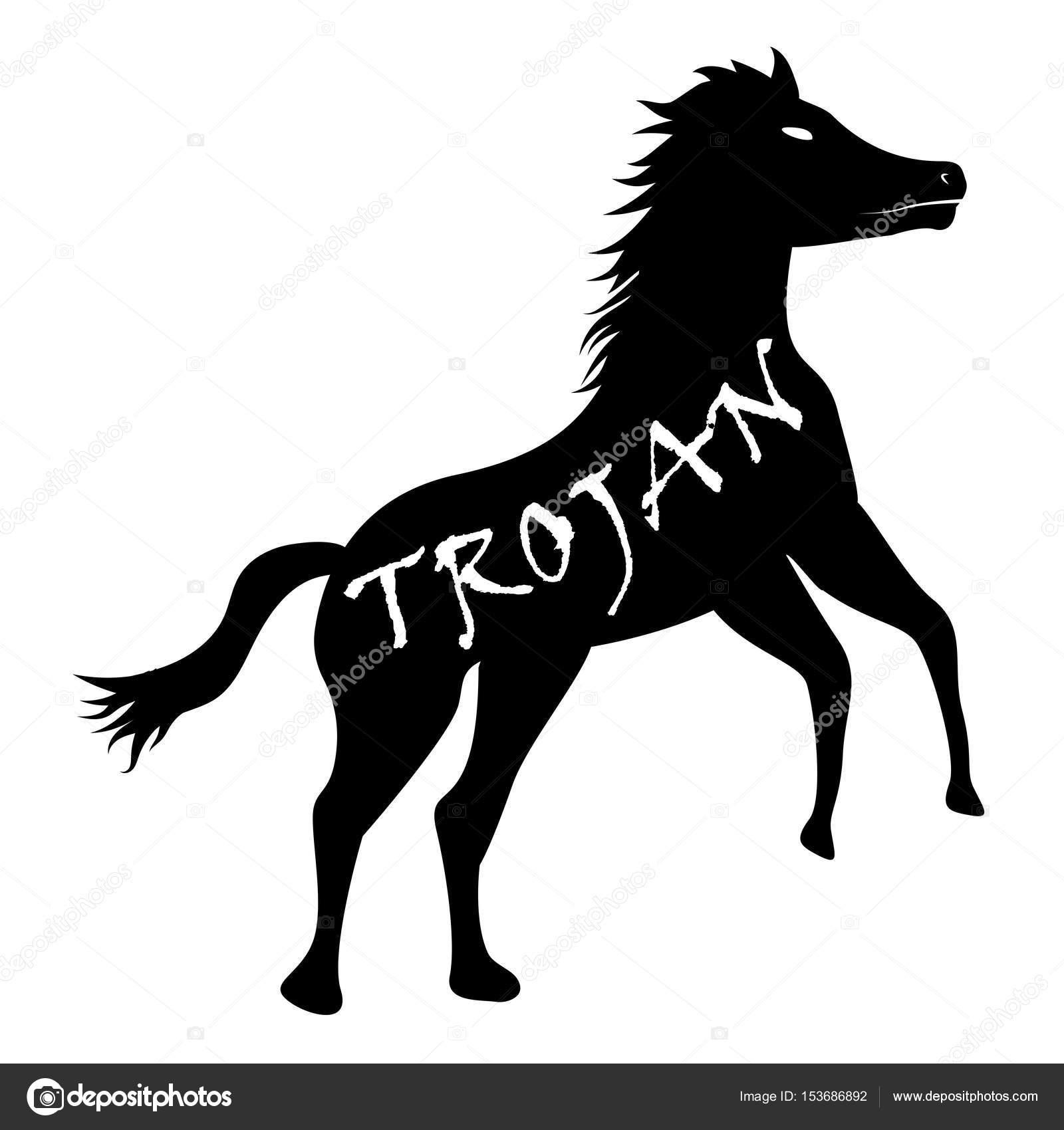 1600x1700 Black Trojan Horse Computer Virus Icon Vector Stock Vector