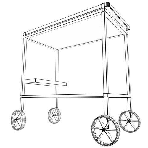 500x500 3d Asset Low Poly Food Trolley Beverage Cart 4 Cgtrader
