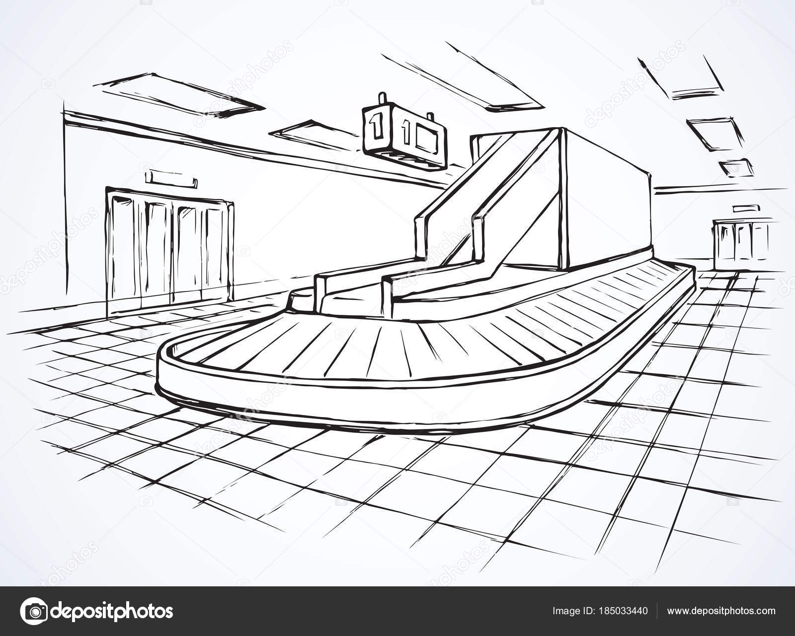 1600x1281 Point Of Checking Luggage In Airport. Vector Drawing Stock