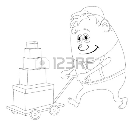 450x424 Porter With Baggage Trolley, Cartoon Character, Man In Uniform