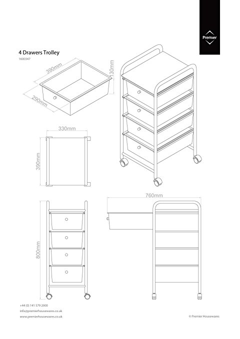 480x679 Premier Housewares 4 Drawer Storage Trolley With Chrome Frame