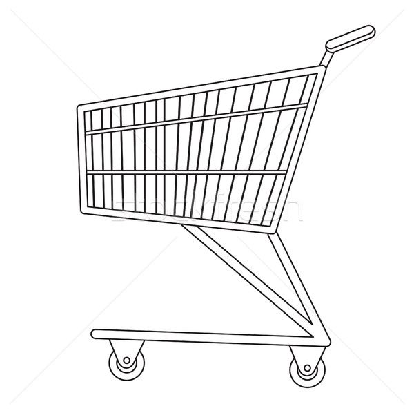 600x598 Shopping Carts Icon, Line, Sketch, Doodle Style. Metal Trolley