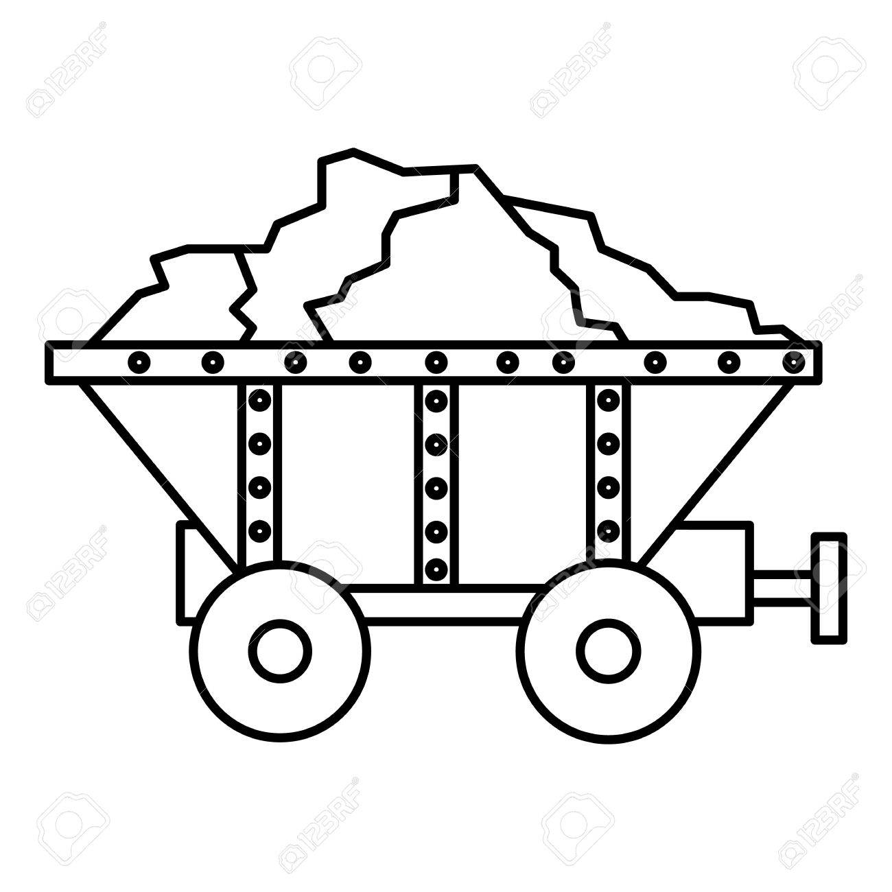 1300x1300 Small Coal Trolley Icon. Outline Illustration Of Small Coal