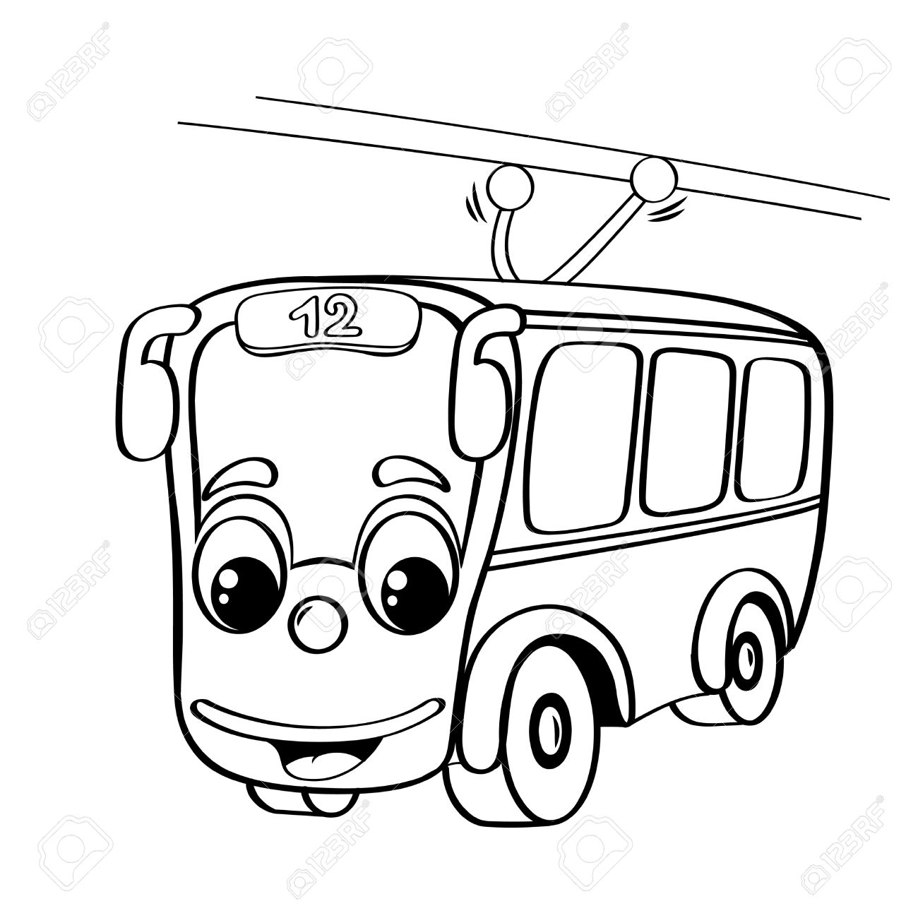 1300x1300 Funny Cartoon Trolley Bus. Black And White Illustration