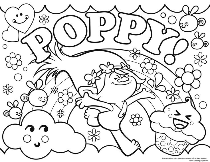 736x568 Trolls Coloring Pages