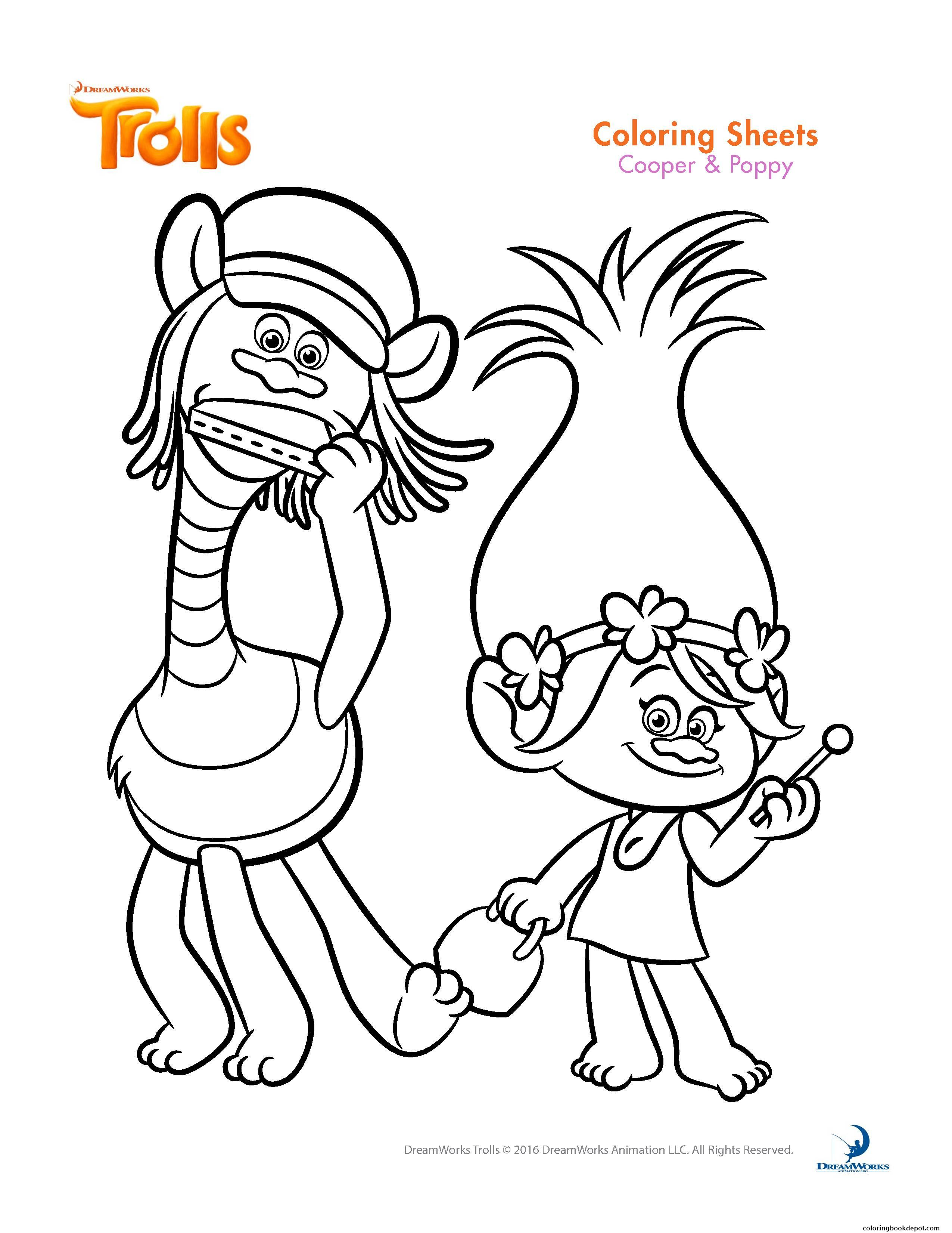 2550x3300 Cooper And Poppy Trolls Coloring Pages