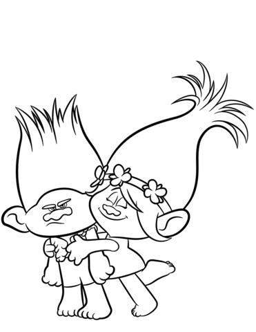 371x480 Branch Amp Poppy From Trolls Coloring Page Free Printable Coloring