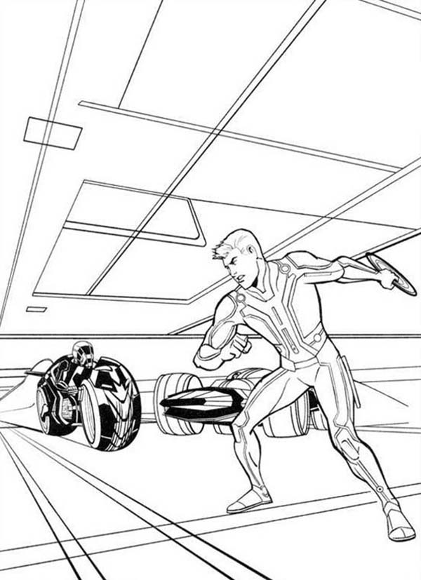 600x827 Tron Sam Flynn with Round Blade Coloring Pages Color Luna