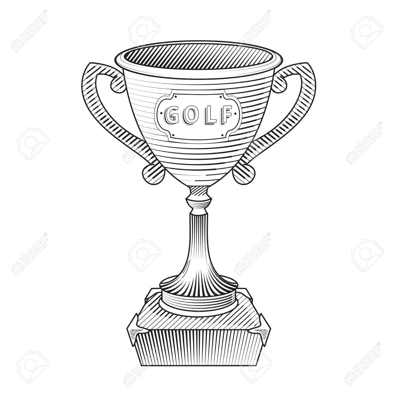 1300x1300 Metallic Trophy Cup Engraved Style. Hand Drawn Trophy