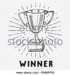300x320 Sport Trophy Sketch Doodle. Hand Drawn Winners Prize On Chalkboard