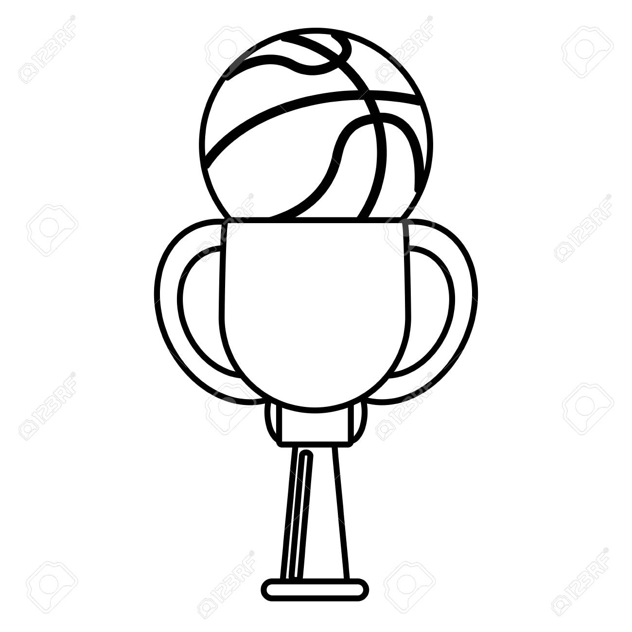 1300x1300 Cute Trophy Ball Basketball Winner Outline Vector Illustration