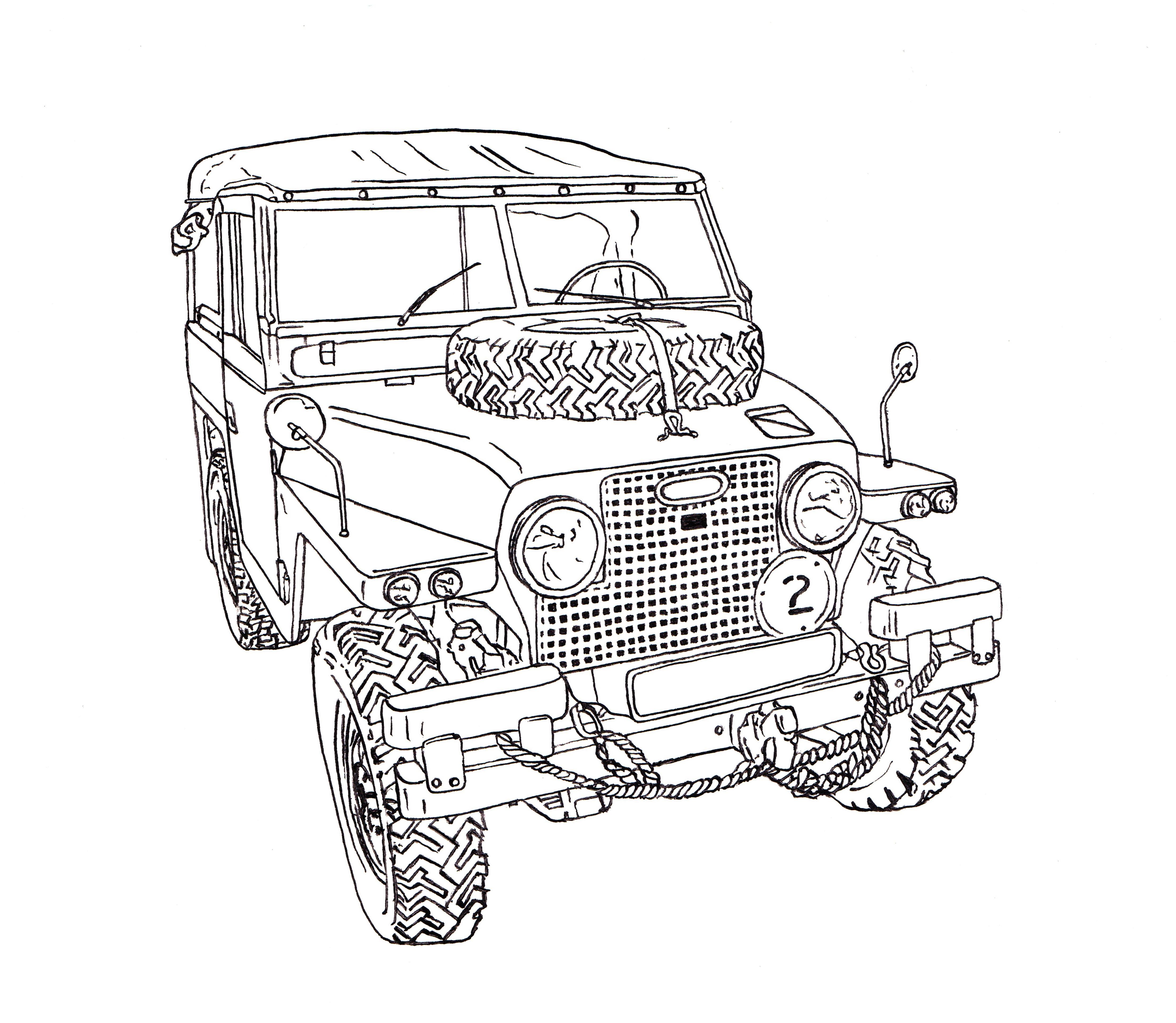 4433x3858 Camel Trophy Land Rover Defender 110 Ink Drawing Fmp Design Work
