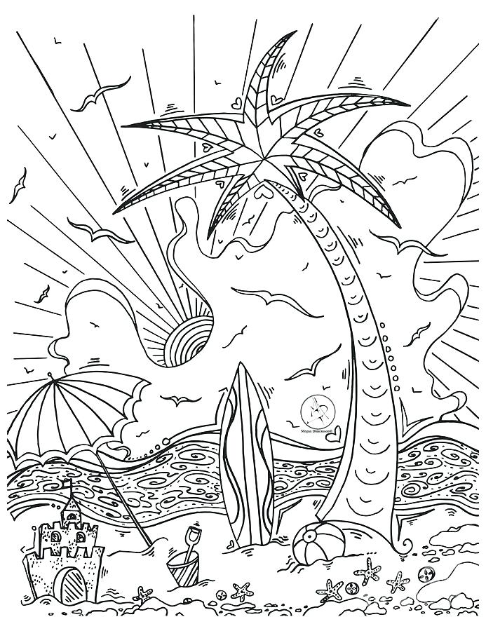 693x900 Island Coloring Page A Simple Drawing Of Tropical Beach Island