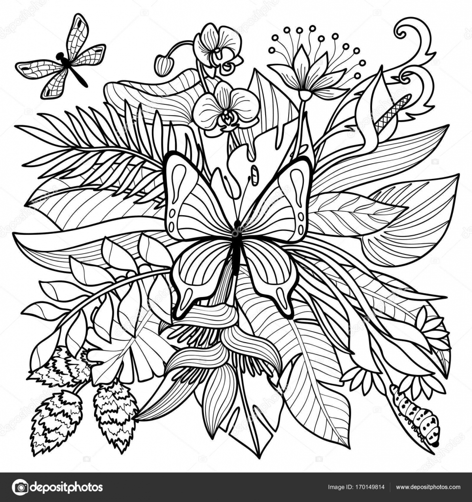 963x1024 Tropical Coloring Page Stock Vector Kronalux