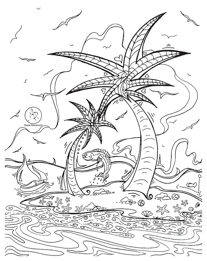 714x900 Coloring Page With Beautiful Tropical Island Drawing By Megan