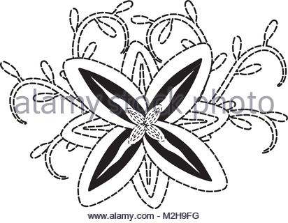412x320 Flowers And Leaves Of Tropical Plants, Vector, Doodle Set Stock