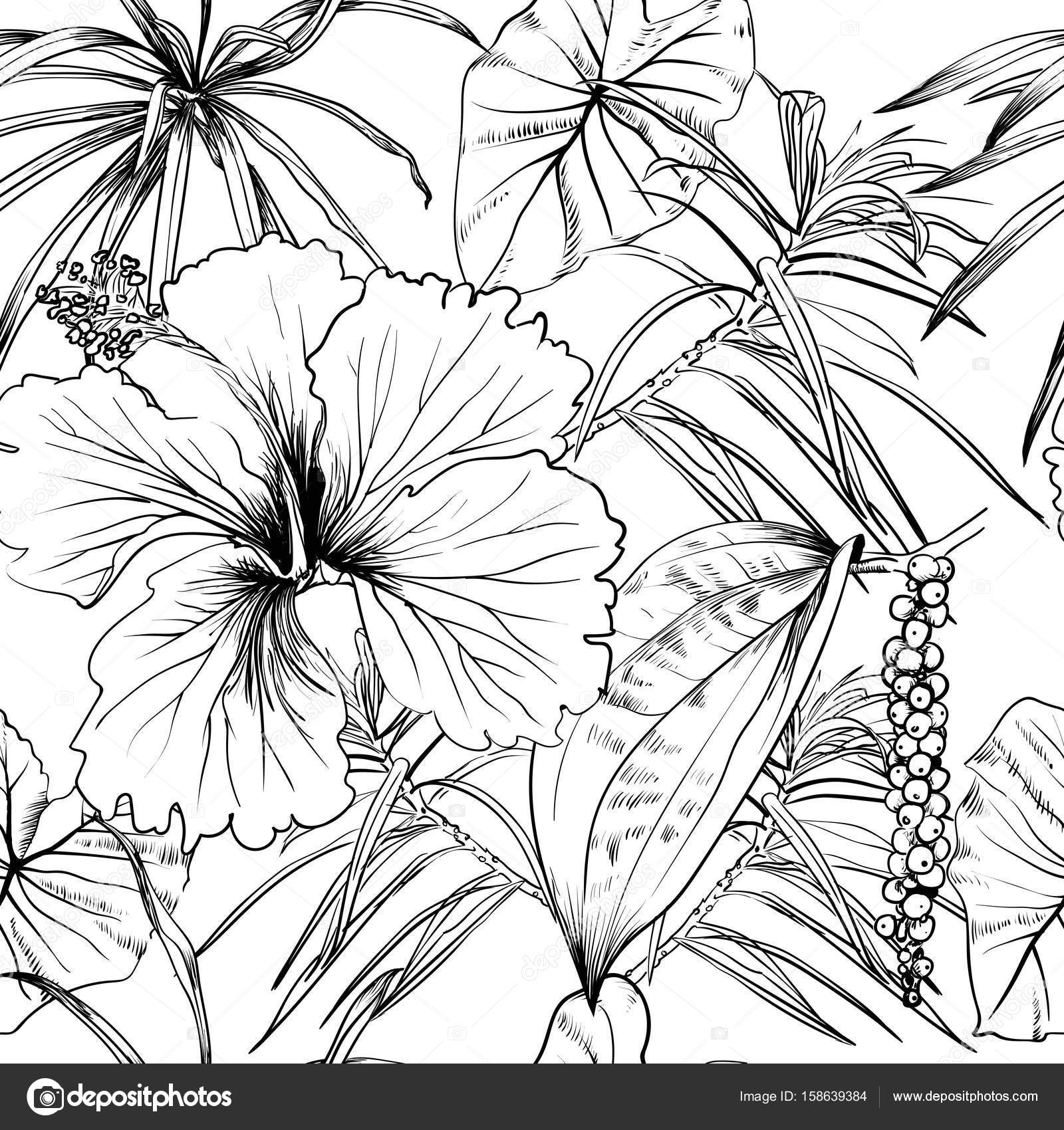1600x1700 Tropical Exotic Flowers And Leaves. Seamless Pattern. Coloring