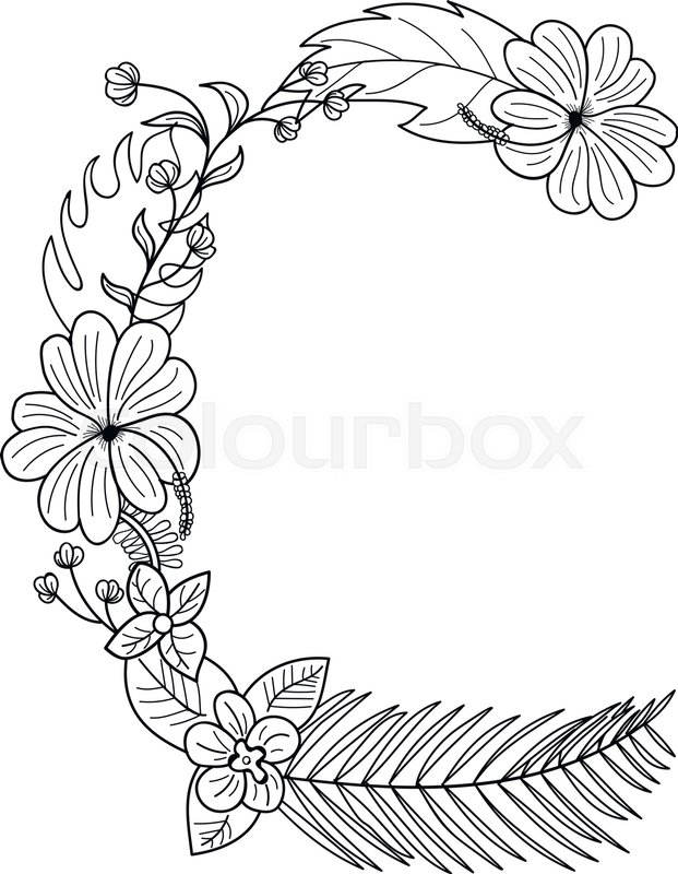 621x800 Tropical Floral Summer Pattern Hand Drawn Ornamental Font
