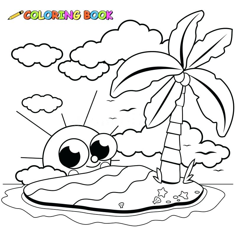 800x800 Island Coloring Page A Simple Drawing Of Tropical Beach Island