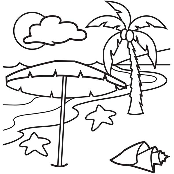 600x600 A Lovely Beach On Tropical Island Coloring Page