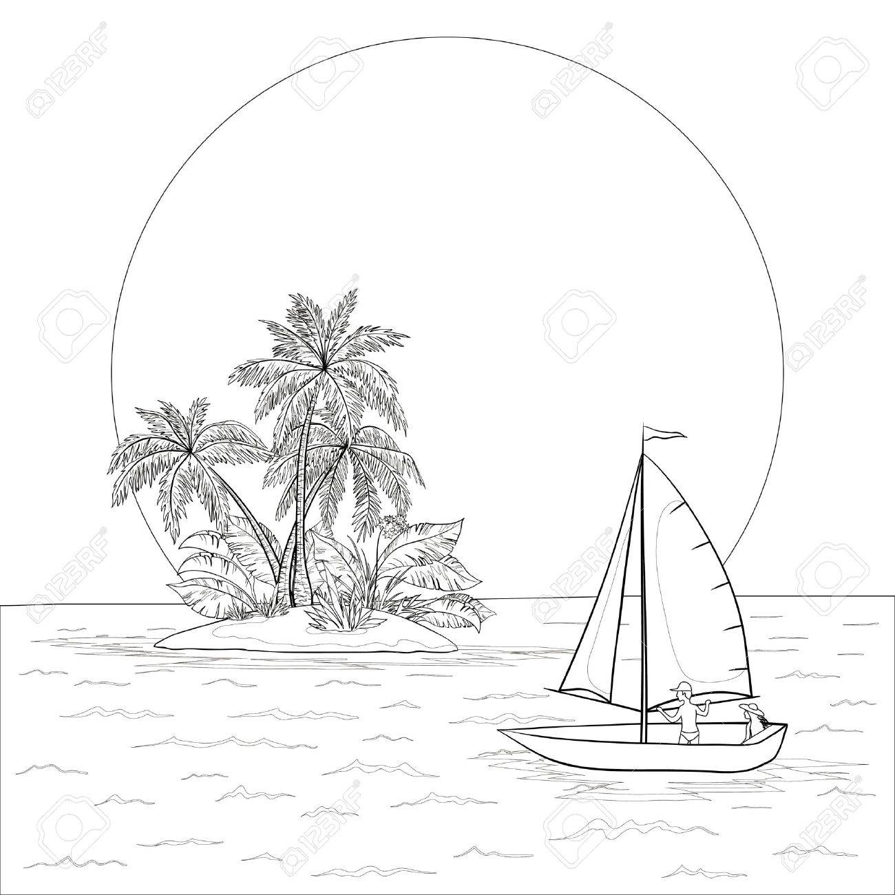 1300x1300 Sailing Boat With A People Floating In The Tropical Sea Against