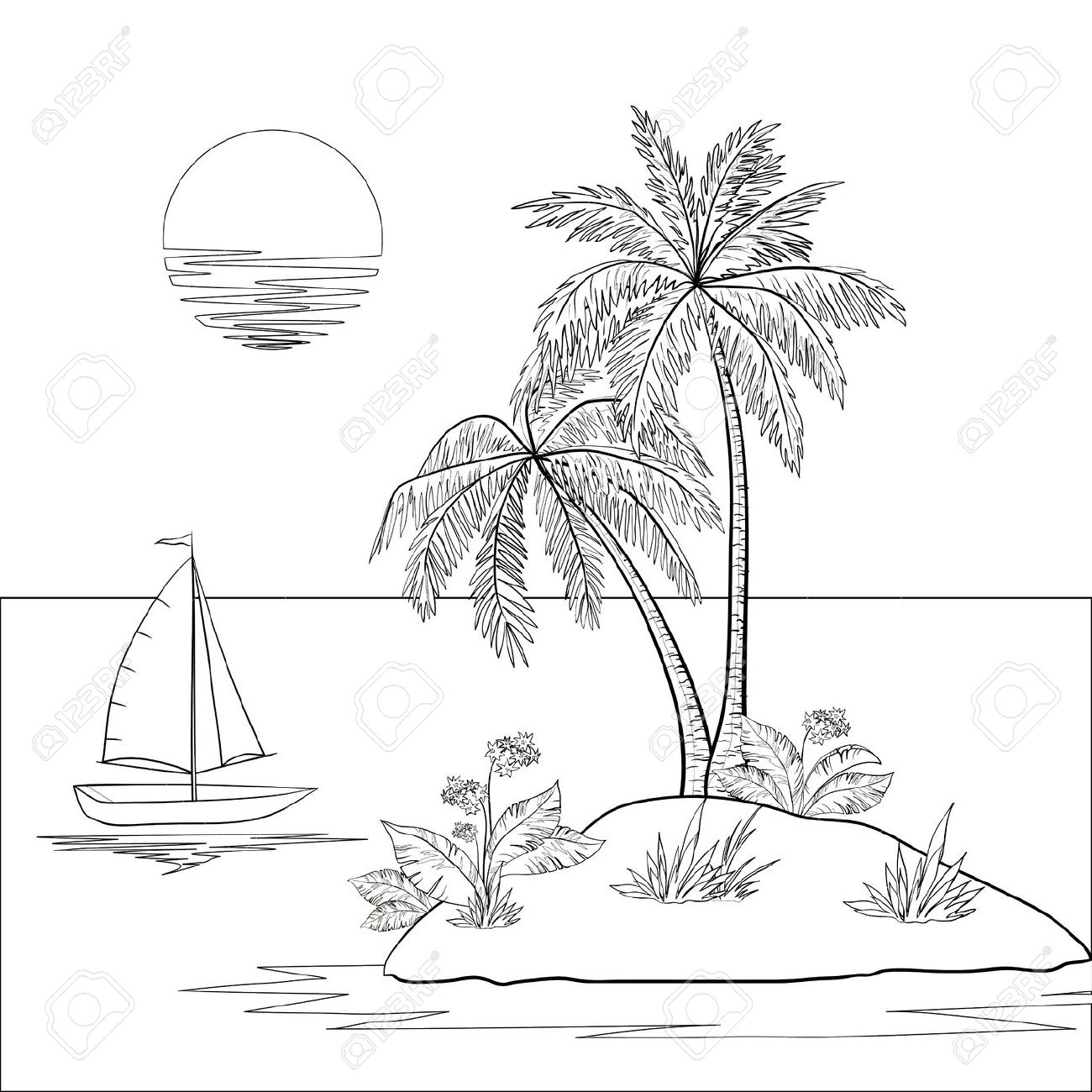 1300x1300 Ship, Sun, Tropical Sea Island With Palm Trees And Flowers Black