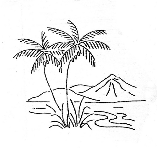 500x479 Tropical Island Clipart Black And White