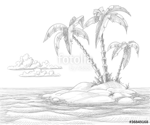 500x419 Tropical Island Vector Sketch Stock Image And Royalty Free Vector