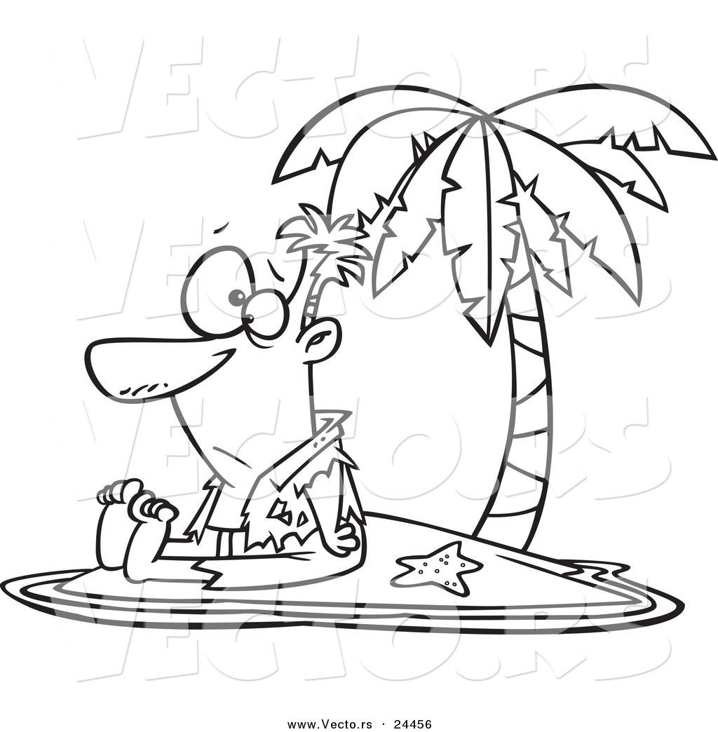 1024x1044 Vector Of A Cartoon Shipwrecked Man On A Tropical Island