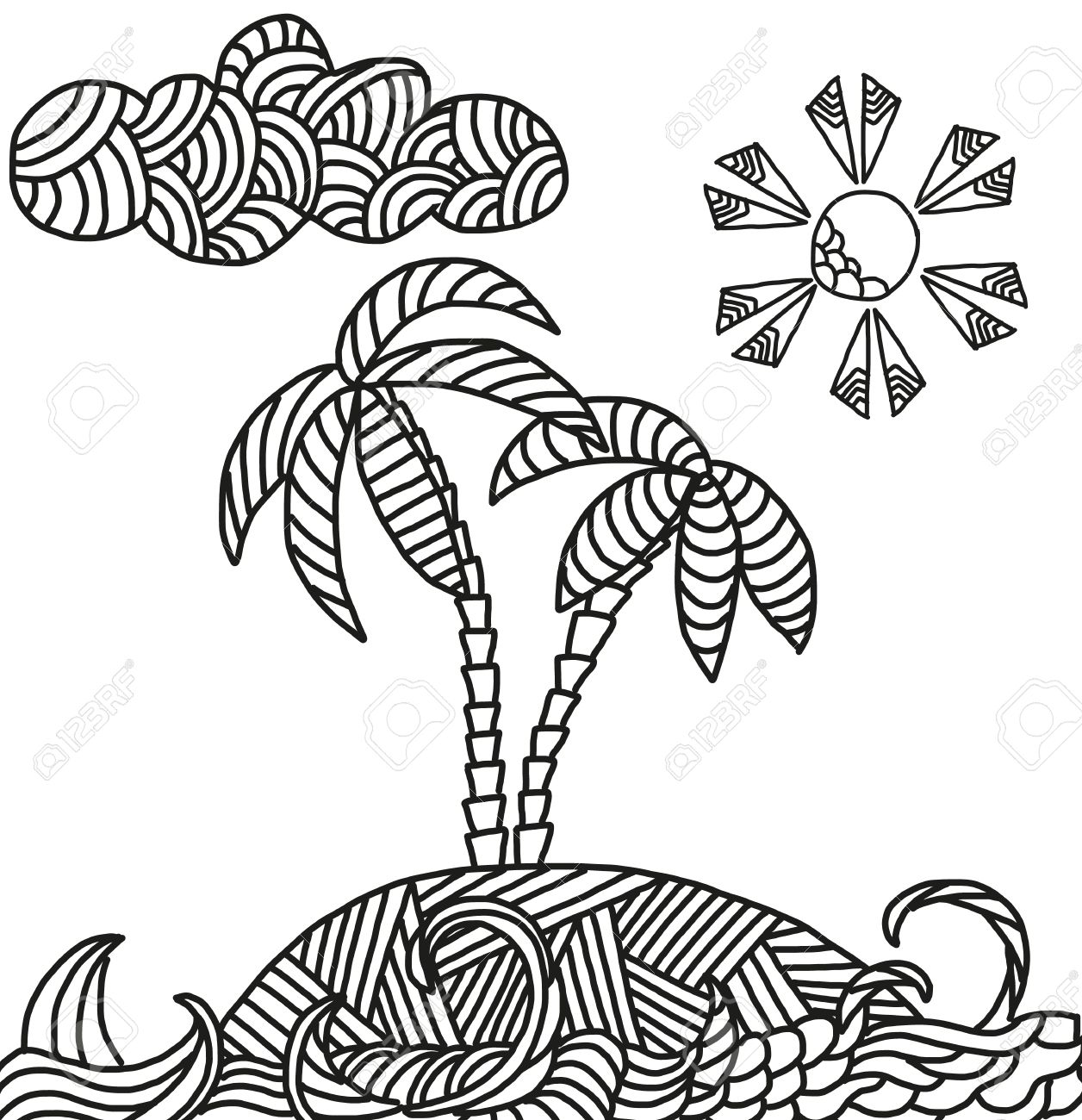 1256x1300 Zentangle Illustration Of Tropical Island With Palms And Waves