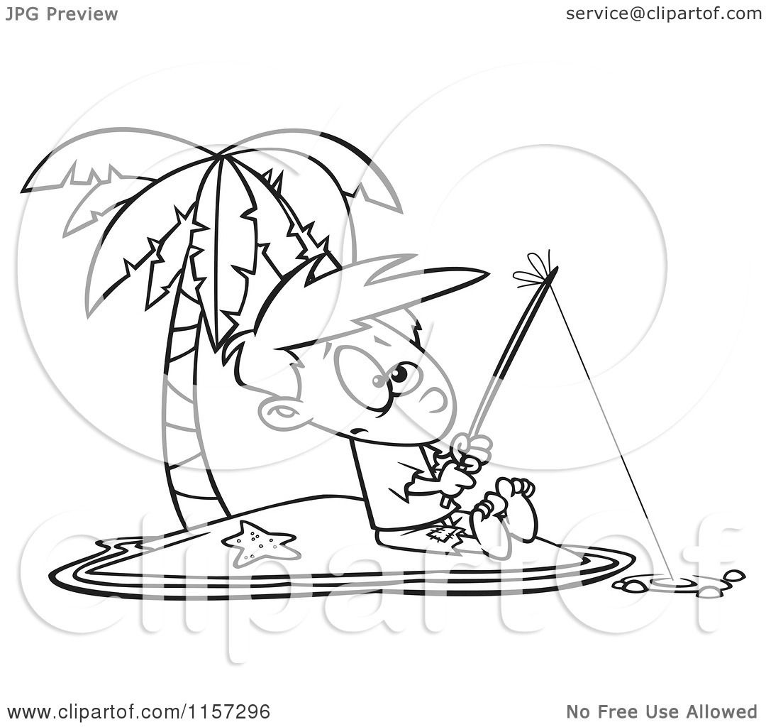 1080x1024 Cartoon Clipart Of A Black And White Boy Fishing On A Tropical