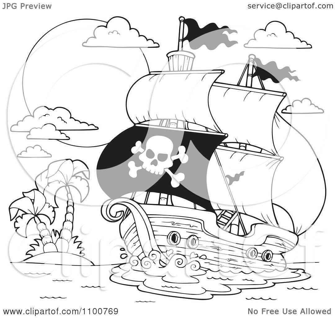 1080x1024 Clipart Outlined Pirate Ship Nearing A Tropical Island