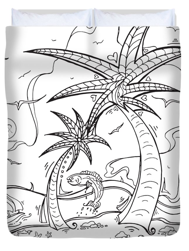645x853 Coloring Page With Beautiful Tropical Island Drawing By Megan