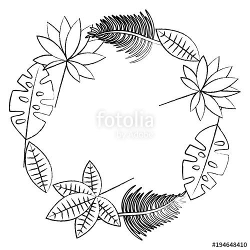 500x500 Tropical Leaves Wreath Icon Image Vector Illustration Design Black