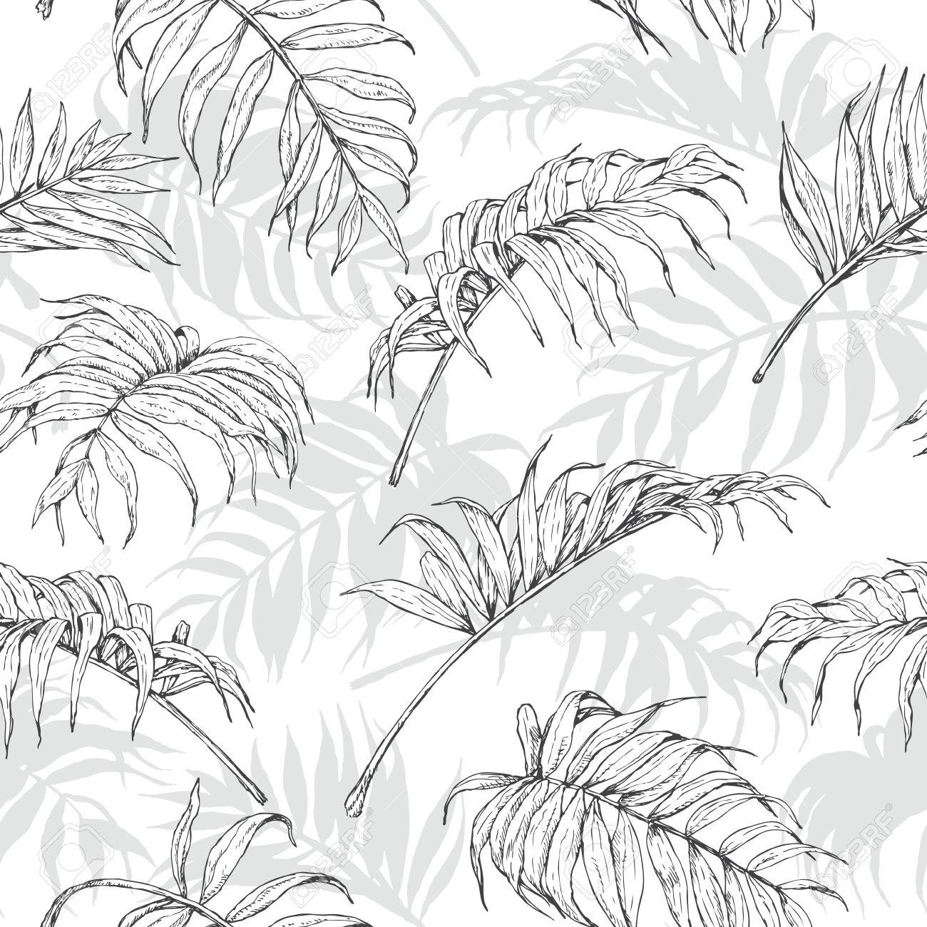 1300x1300 Hand Drawn Branches And Leaves Of Tropical Plants. Monochrome