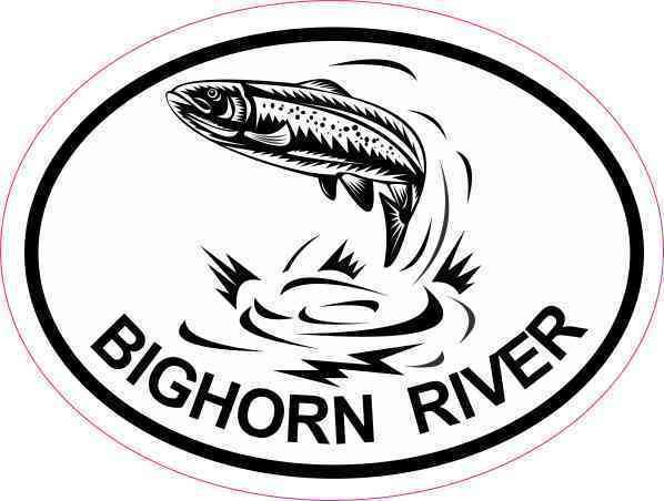598x452 4x3 Oval Trout Bighorn River Sticker Luggage Car Cup Tumbler