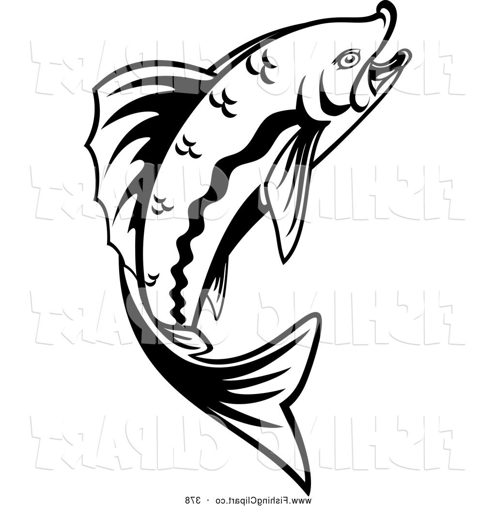 1024x1044 Top Clip Art Of Leaping Black And White Trout By Vector Tradition