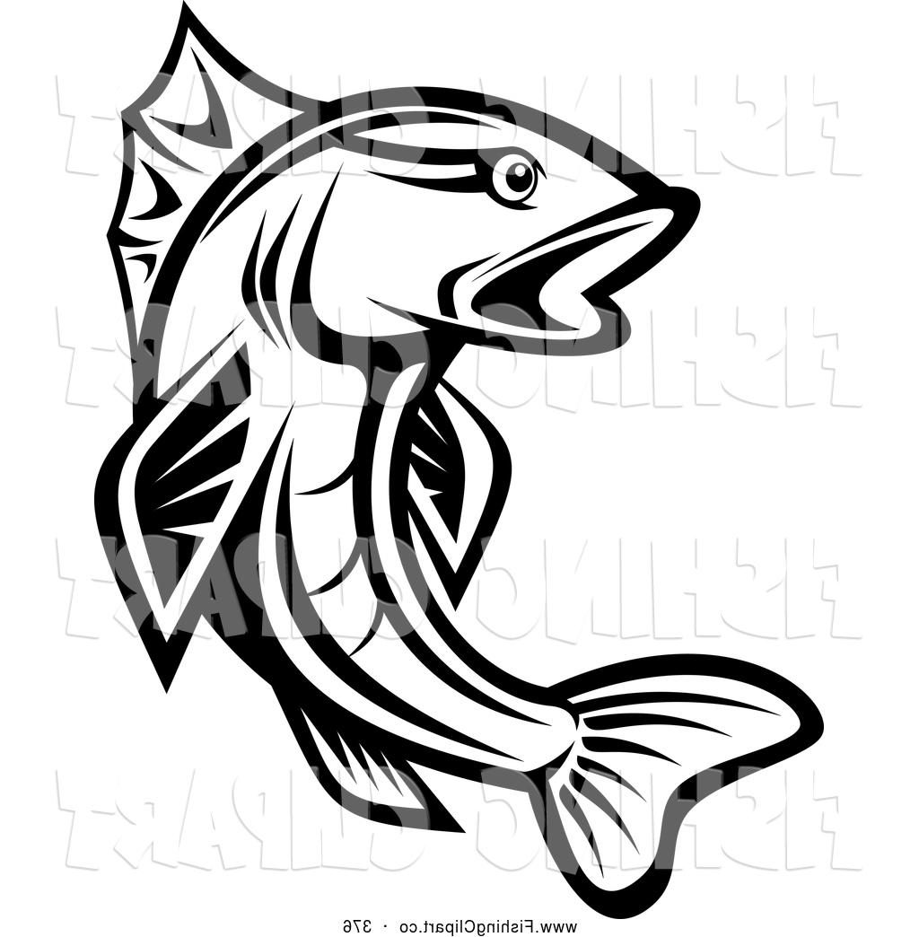 1024x1044 Best Clip Art Of Leaping Black And White Trout By Vector Tradition