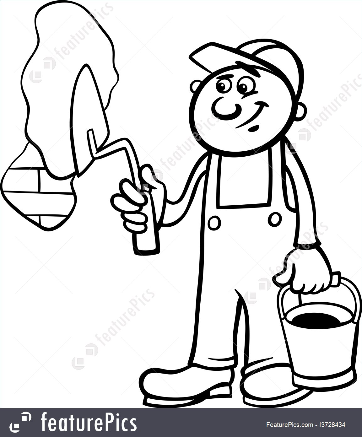 1153x1392 People At Work Worker With Trowel Coloring Page