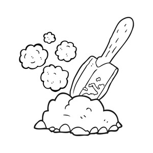 300x300 Freehand Drawn Black And White Cartoon Trowel Digging Earth