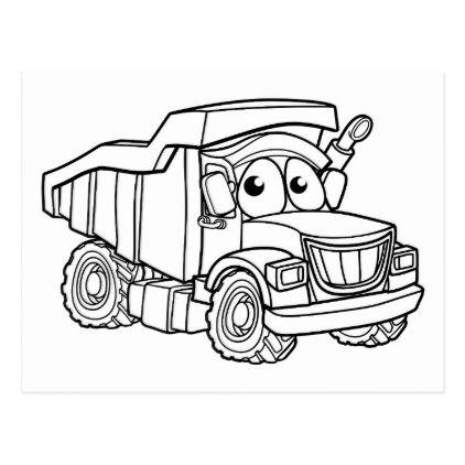 422x422 Cartoon Character Dump Truck Postcard Sketch Design