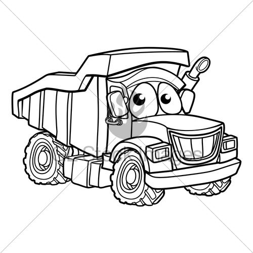 500x500 Cartoon Character Dump Truck Gl Stock Images