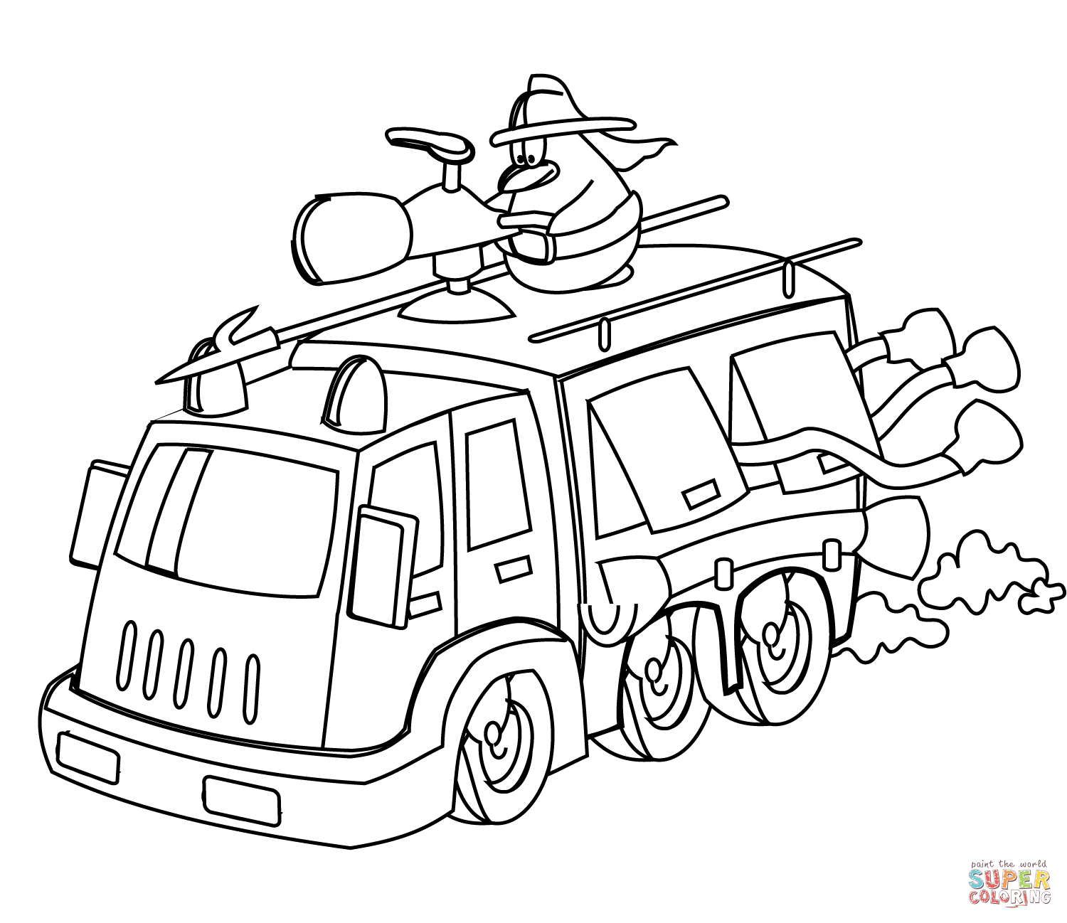 1500x1298 Cartoon Fire Truck Coloring Page Free Printable Coloring Pages