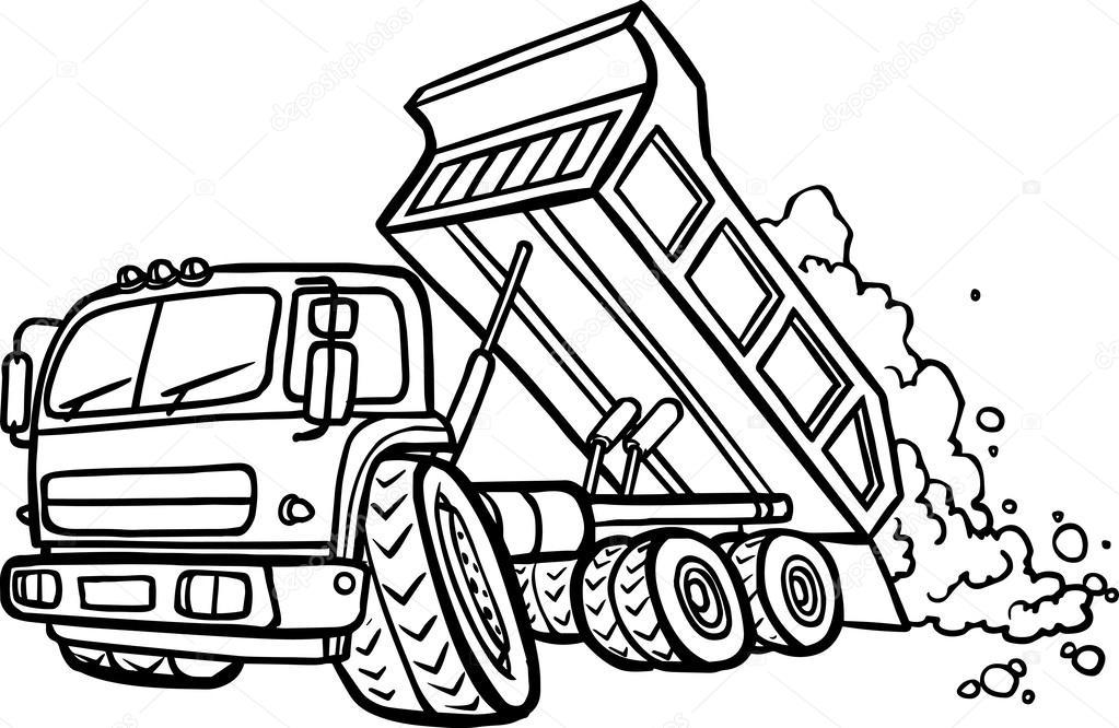 1023x666 Cartoon Tipper Truck. Border Stock Vector Gekatarina