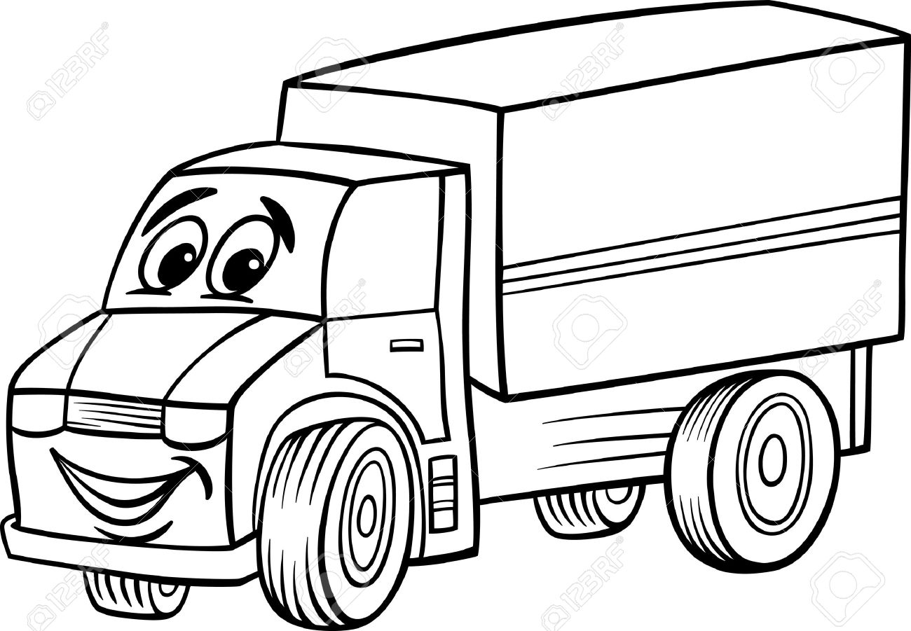 1300x901 Black And White Cartoon Illustration Of Funny Truck Or Lorry Car
