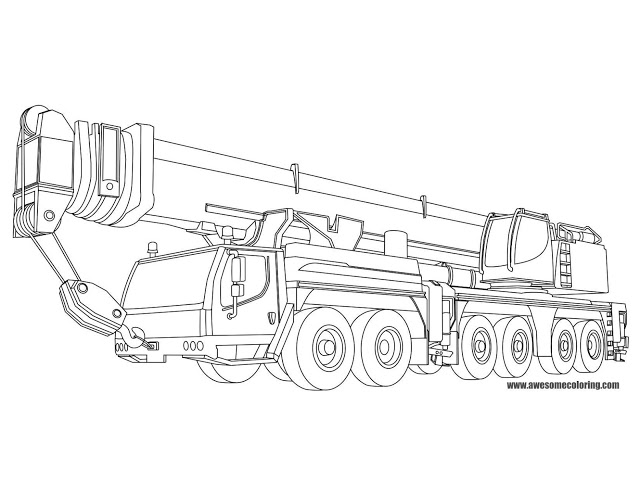 640x495 Liebherr Mobile Crane Coloring Page