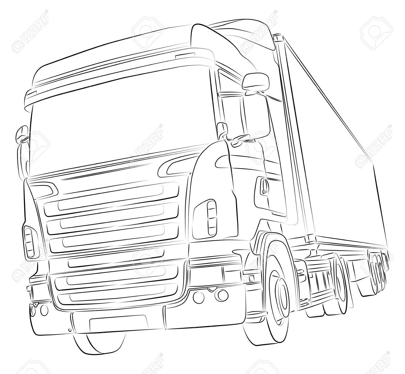 1300x1200 Drawing Of Big Delivery Truck Royalty Free Cliparts, Vectors,