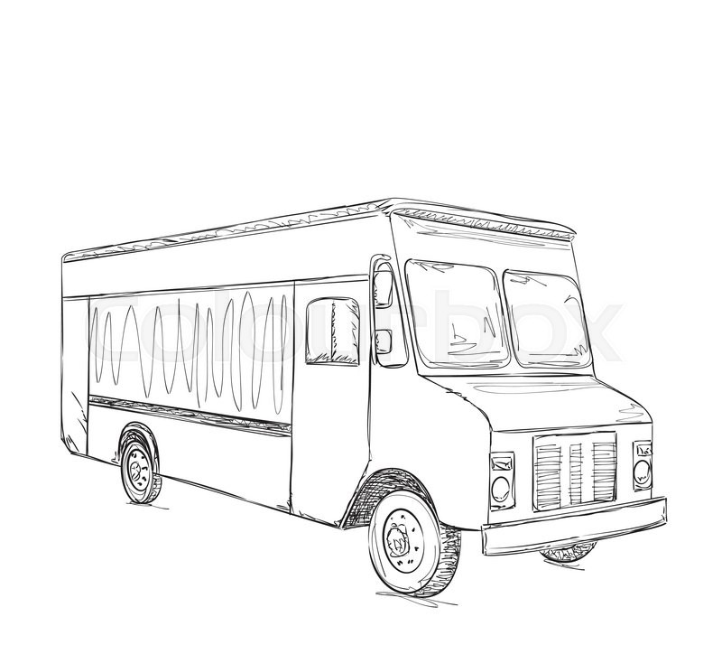 800x724 Hand Drawn Food Truck. Delivery Service Sketch Stock Vector